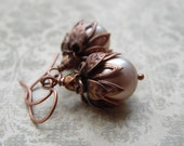 Antique Style Crystal Pearl Earrings with Antique Copper