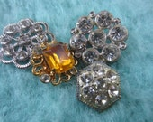 Vintage Buttons -4 assorted beautiful designs, clear and citrine rhinestone embellished, old and sweet, silver and bronze metal (sept 40)