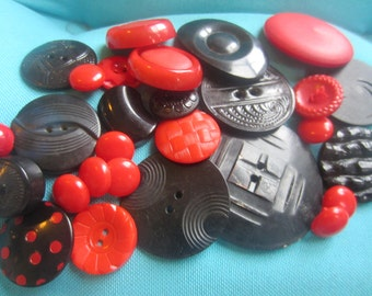 Vintage Buttons - Cottage chic mix of black and red lot of 28, old and sweet( sept 84)