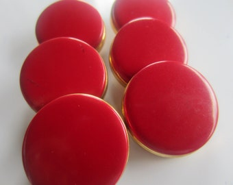 Vintage Buttons - 8 matching novelty red with gold metal large matching, heavy weight ( sept 180)