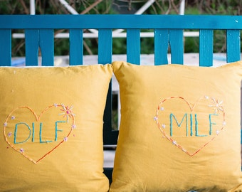MILF and DILF Throw Pillow Set in Sunshine Yellow