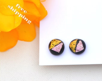 72 Fused dichroic glass earrings, round, sparkle, crinkle dichroic, pink, gold