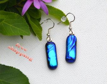 104 Fused glass dichroic earrings, dangles, blue, shiny