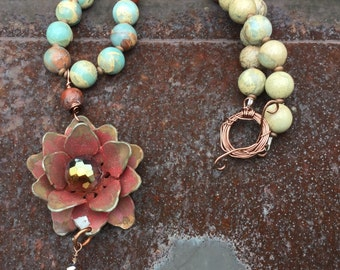 Amazonite and Rustic Flower Cowgirl necklace