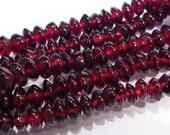 Red Garnet Saucer Shape Rondelle Gemstone Beads.....12 Beads....5-6mm