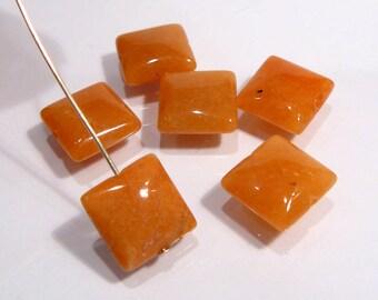 Red Aventurine Puffed Square Gemstone Beads....6 Beads....12mm