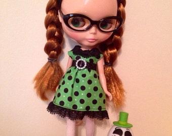 Green & Black Polkadot  Blythe Dress