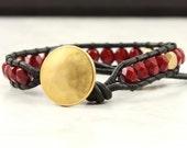 Autumn Red Wrap Bracelet Garnet Bracelet Black Leather Wrap Bracelet Boho Jewelry Wrap Bohemian Jewelry Bead Bracelet Gold Boho Bracelet