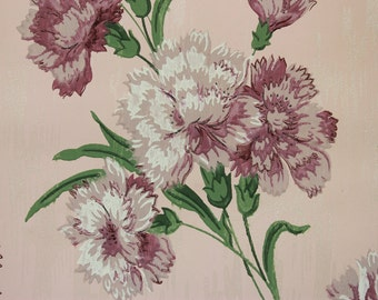 1940's Vintage Wallpaper Purple and White Carnations on Pink