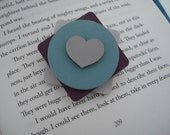 Geometric Wooden Square Circle and Heart Brooch Pin Hand-painted in Shades of Duck Egg, Plum Berry and Grey - Contemporary Eco Jewellery