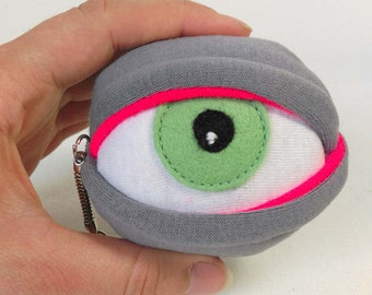 Fluorescent zombie eyeball keyring keychain dayglow rave colours