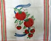 Vintage French Linen Metis Torchons tea towel Fleur Stripes embroidered tomatoes