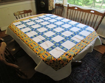 Vintage amish tablecloth chickens hex signs hand screened rectangle 56X64