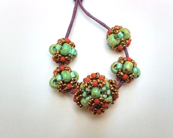 5 Hand Beaded Beads, Turquoise Blue Picasso, Terra cotta, Bronze and Sea Foam Green.