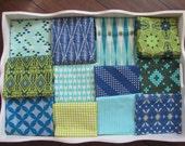 BOYS 32x32 Geometric Blue Green Minky Blanket Made to Order