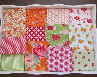 40X56 Orange, Red & Green Floral Quilt Made to Order