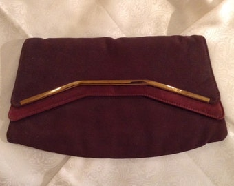 Vintage 1950s chocolate brown faille and satin clutch