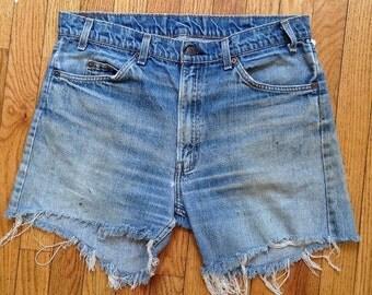 "Vintage 1970s Levi's high-waisted cut-off jean shorts, 36"" waist"