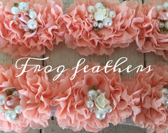 New-Shabby PEACH with ROSETTE and PEARL Trim on Net-2 1/2 inch- 15 flowers