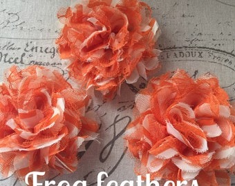 New-FLOWERS ORANGE and WHITE- Chiffon and Lace -3 3/4 inch-Set of 3