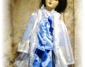 Boudoir Doll Pajamas Set In Blue Satin