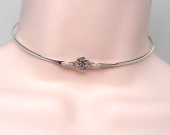 Made To Order Bit Of Irish Symbolic Sterling Silver Public Day Collar with Celtic Knot Focal and Magnet Clasp