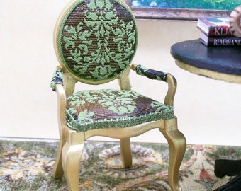 Green Arm Chair Gold Brown Upholstered 1:12 Dollhouse Miniature Artisan