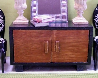 Buffet Mid Century Modern Black Console Cabinet 1:12 Miniature Artisan
