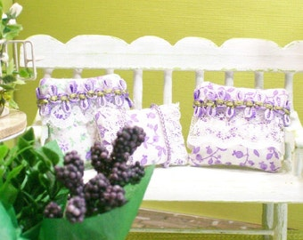 Purple Pillows Cushions Flowers Lavender Lace 1:12 Dollhouse Miniatures Artisan