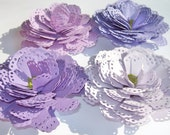 4 Purple ombre doily paper flowers,wedding decoration,scrapbook decoration,table decoration,purple ombre flowers,paper flowers,embellishment