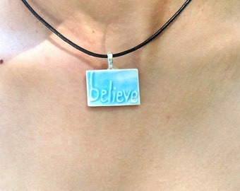 Handmade Jewelry Handmade Ceramic Believe Pendant- Comes with a FREE black necklace string Ceramics and Pottery by Jewel Pottery