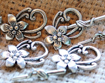 Pewter floral toggle clasp