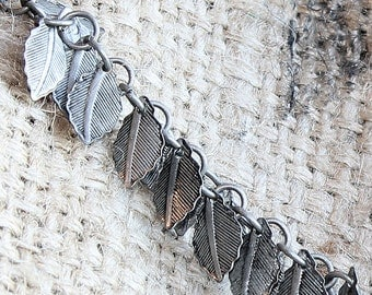 Chain, pewter,leaf chain,gun metal chain