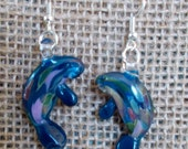 Hand Blown Glass Teal Manatee Pierced Earrings, Nickel Free Hooks, Post, Clip On