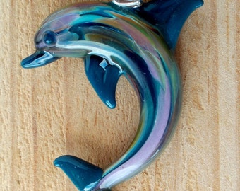 Hand Blown Teal Blue and Multi Color Dolphin Pendant, Necklace, Focal Bead