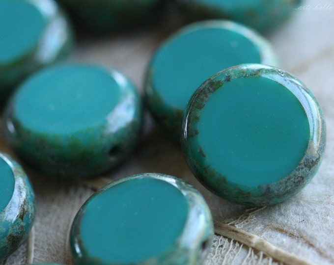 sale .. SLICED TEAL .. 10 Picasso Czech Glass Coin Beads 10mm (4573-10)