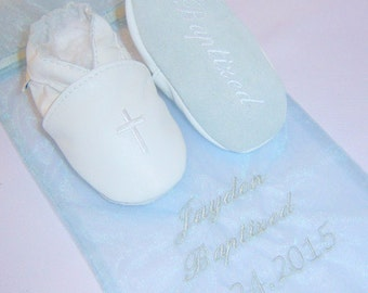 gift bag embroidered with baptism date and name - softoulbabyshoes baptism shoe gift - baptism bag for baby shoes