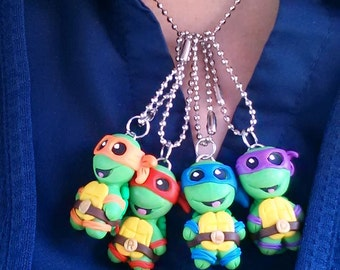 tmnt Hand sculpted ninja turtle necklace. pick 1.