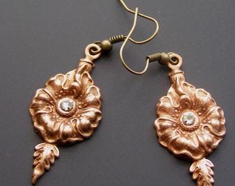Flower Earrings, Rose OX Earrings, Floral Jewelry, Rhinestone Copper Dangle Viintage Style Earrings