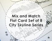 Mix and Match - City Skyline Series - Flat Stationery Cards (8)