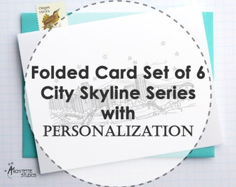 Personalized - City Skyline Series - Folded Cards (6)