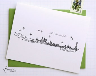 New Braunfels / Gruene, Texas - United States - City Skyline Series - Folded Cards (6)