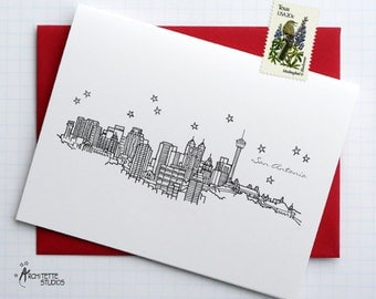 San Antonio, Texas - United States - City Skyline Series - Folded Cards (6)