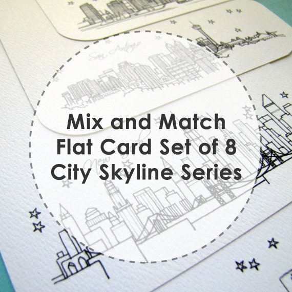 Mix and Match - City Skyline Series - Flat Stationery Cards (8)
