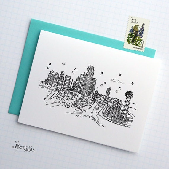 Dallas, Texas - United States - City Skyline Series -  Folded Cards (6)