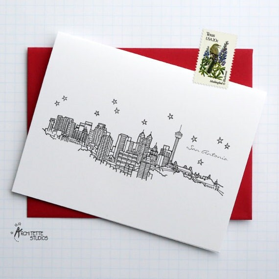 San Antonio, Texas - United States - City Skyline Series - Folded Cards (6)