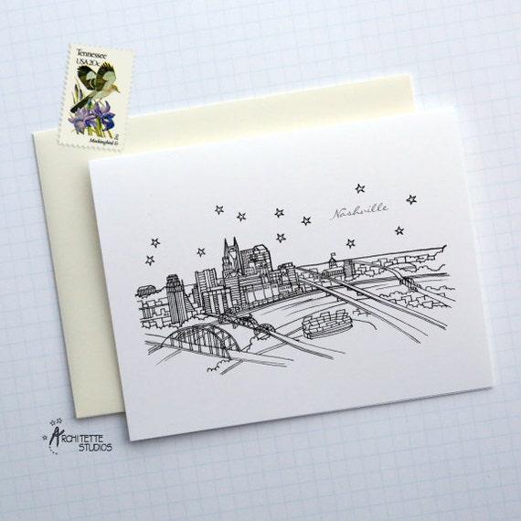 Nashville, Tennessee - United States - City Skyline Series - Folded Cards (6)