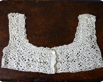 Lace Vest Crochet Bodice Bolero Boho Shrug Costume Reenactment Ecru Small to Medium