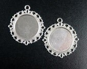 Pendant Blank 10 Pendant Tray Antique Silver Filigree Flat Round Setting 34mm x 31mm Tray, Pad 19mm NF (1026pen39s1)