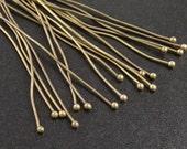 Ball Headpins 100 Ball Pins Antique Bronze Brass Bulk 2 inch (50mm) 21 gauge NF (1059pin50z3)xz